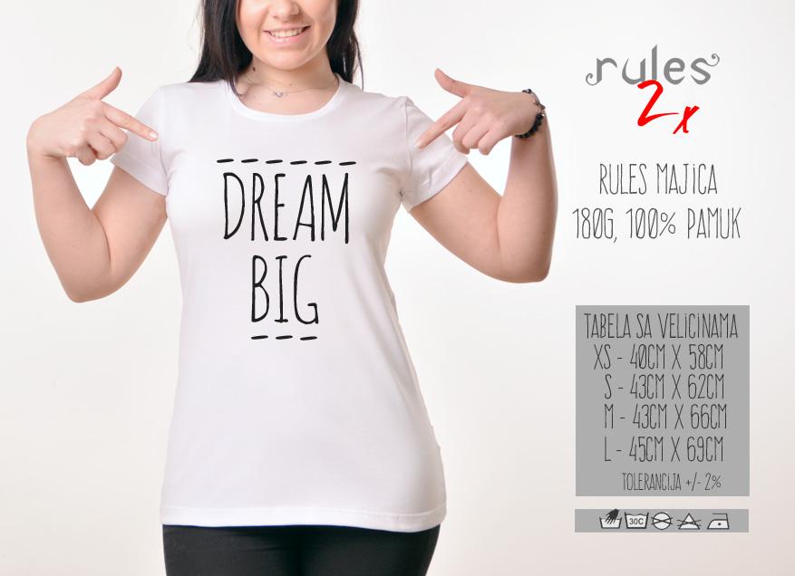 Zenska Rules majica sa natpisom Dream Big - Tabela velicina