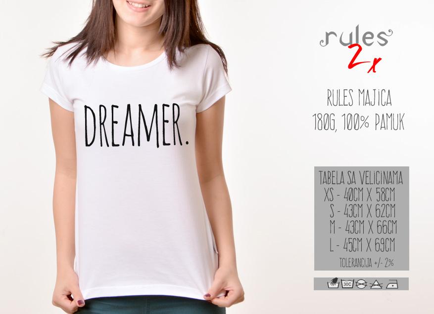 Zenska Rules majica sa natpisom Dreamer - Tabela velicina