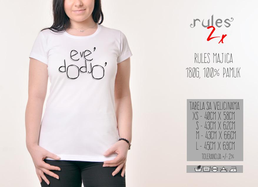 Zenska Rules majica sa natpisom Eve Dodjo - Tabela velicina