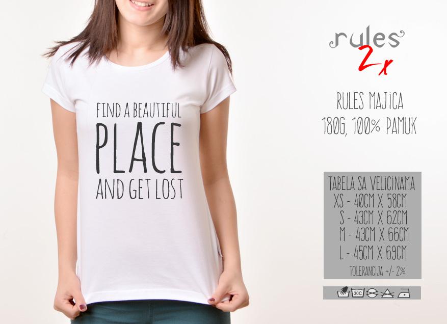 Zenska Rules majica sa natpisom Find A Beautiful Place - Tabela velicina