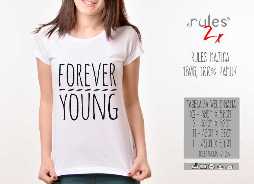 Zenska Rules majica sa natpisom Forever Young - Tabela velicina