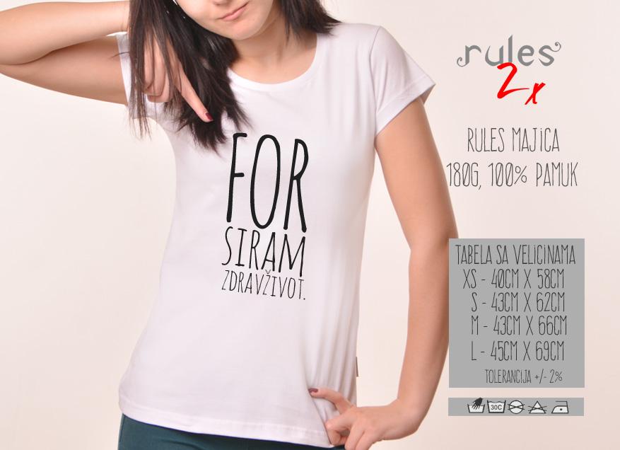 Zenska Rules majica sa natpisom Forsiram Zdrav Zivot - Tabela velicina