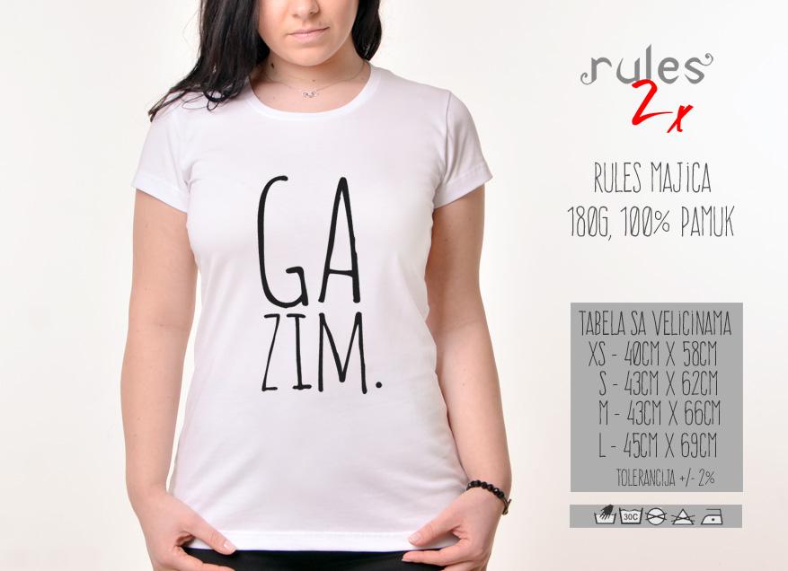 Zenska Rules majica sa natpisom Gazim - Tabela velicina