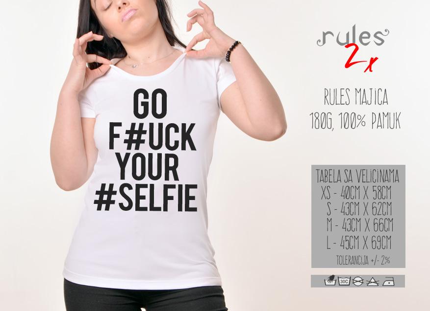 Zenska Rules majica sa natpisom Go Fck Yr Slf - Tabela velicina