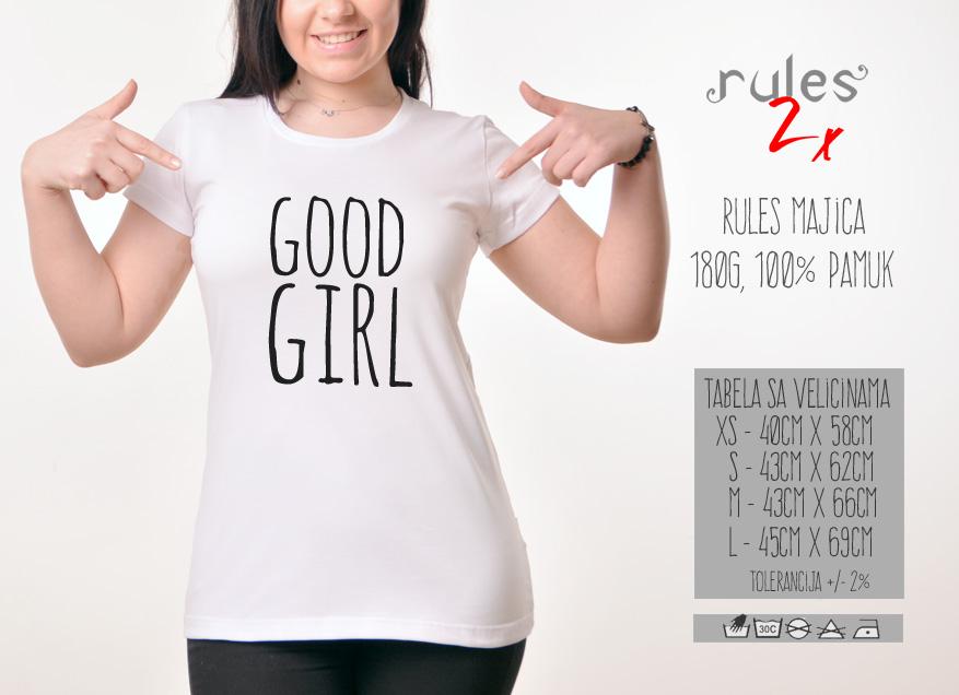 Zenska Rules majica sa natpisom Good Girl - Tabela velicina