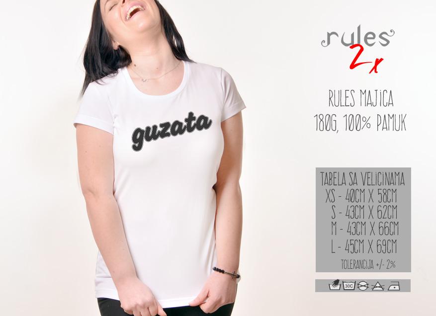Zenska Rules majica sa natpisom Guzata - Tabela velicina