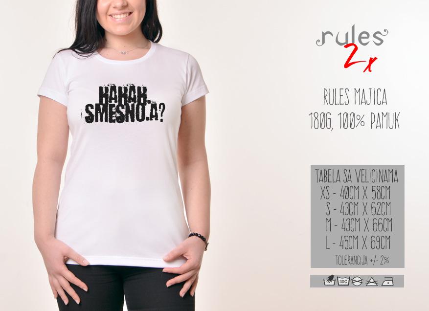 Zenska Rules majica sa natpisom Haha Smesno A - Tabela velicina