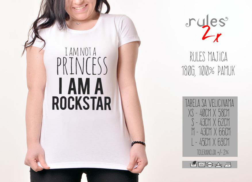Zenska Rules majica sa natpisom I am not a princess - Tabela velicina