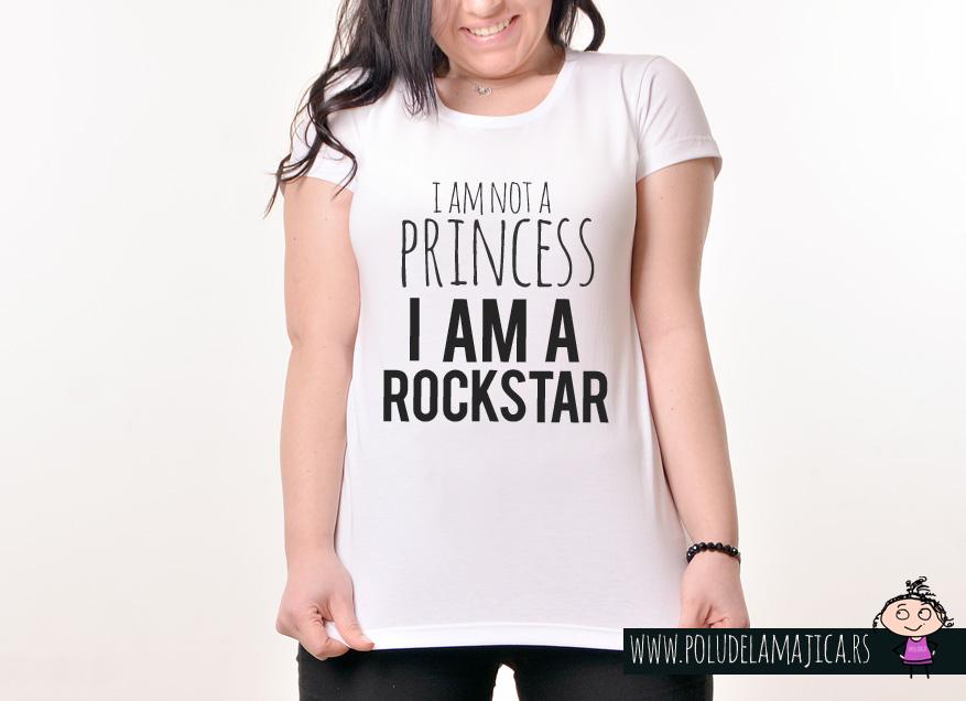 Zenska Rules majica sa natpisom I am not a princess - poludelamajica