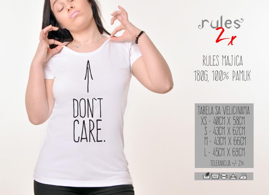 Zenska Rules majica sa natpisom I dont Care - Tabela velicina