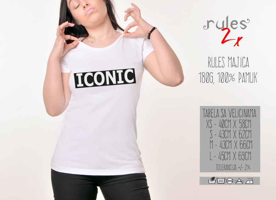 Zenska Rules majica sa natpisom Iconic - Tabela velicina