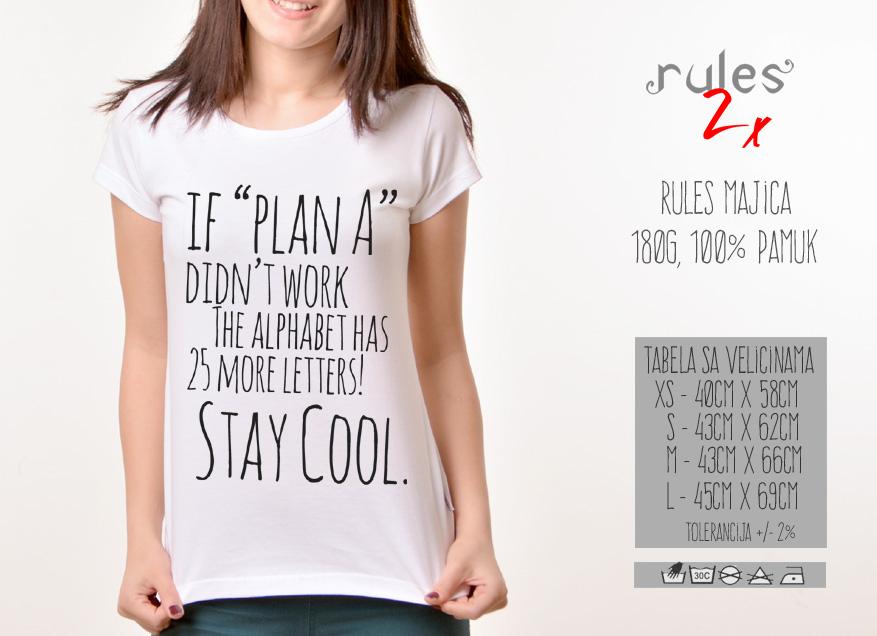 Zenska Rules majica sa natpisom If plan A didnt work -  Tabela velicina