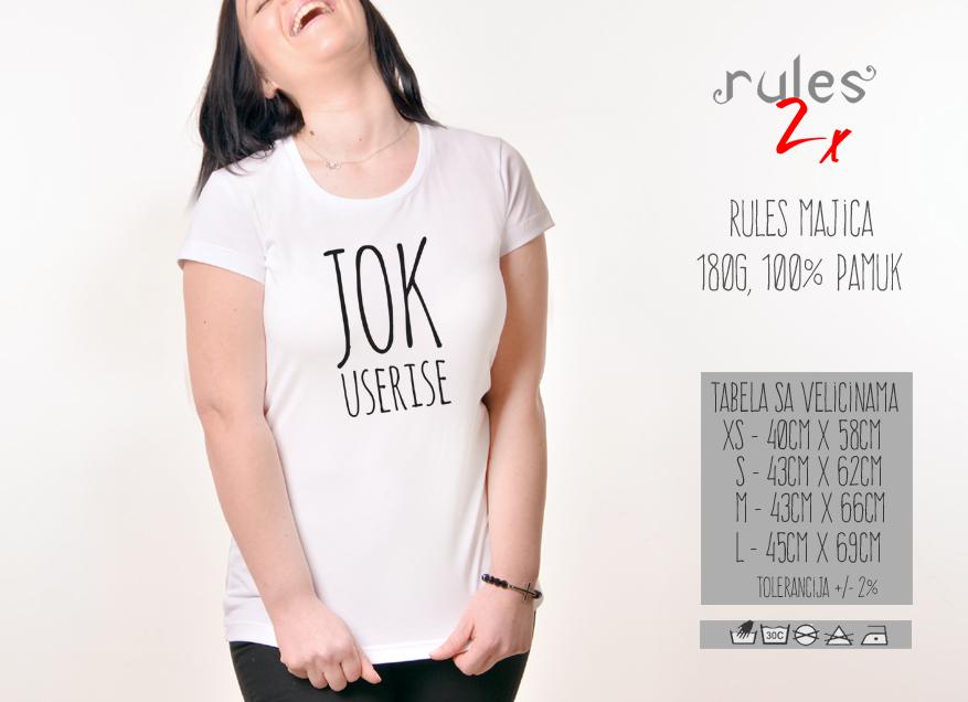Zenska Rules majica sa natpisom Jok Useri se - Tabela velicina