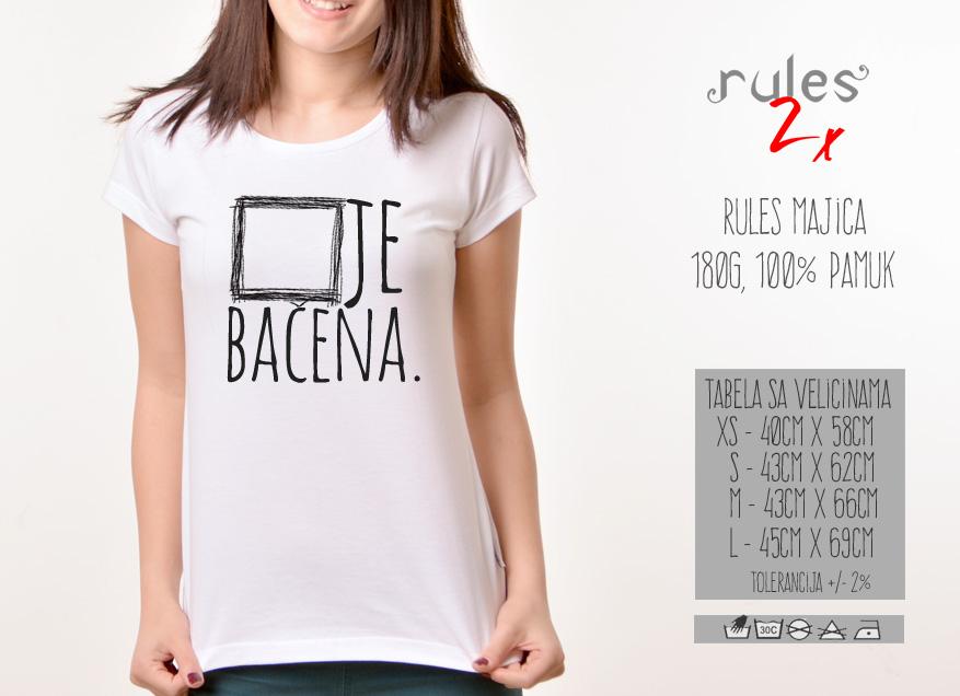 Zenska Rules majica sa natpisom Kocka Je Bacena - Tabela velicina