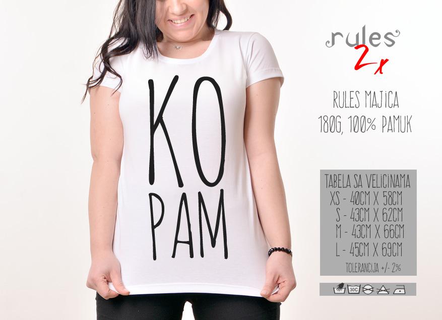 Zenska Rules majica sa natpisom Kopam - Tabela velicina