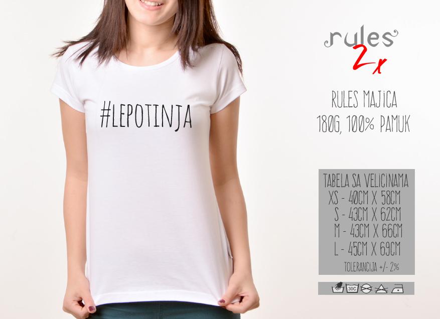 Zenska Rules majica sa natpisom Lepotinja - Tabela Velicina
