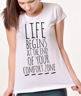 Zenska Rules majica sa natpisom Life Begins At The End Of Your Comfort Zone - Proizvod