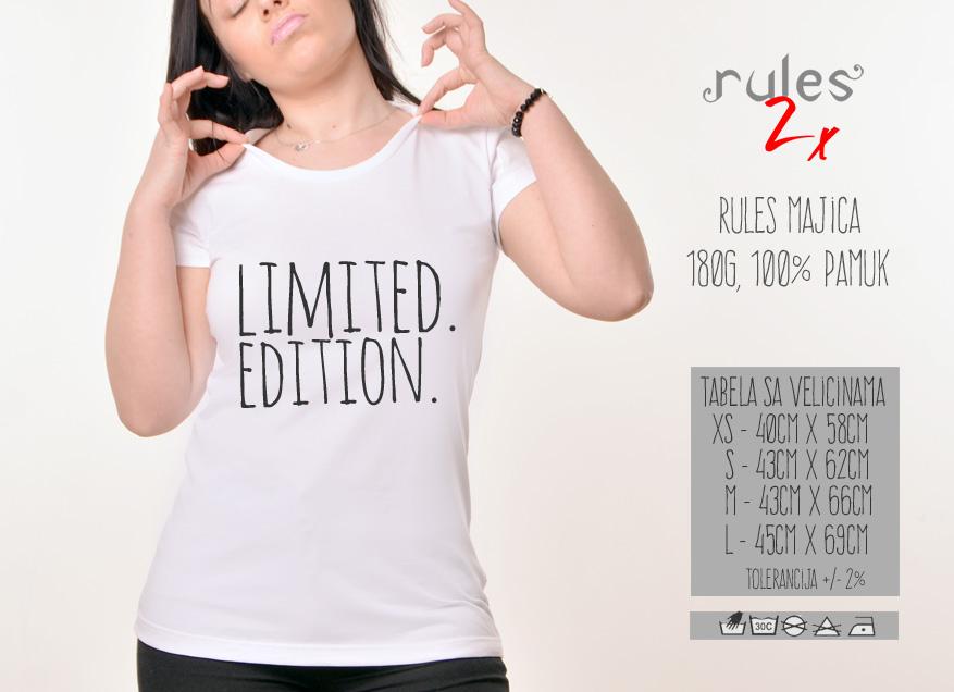 Zenska Rules majica sa natpisom Limited Edition - Tabela velicina