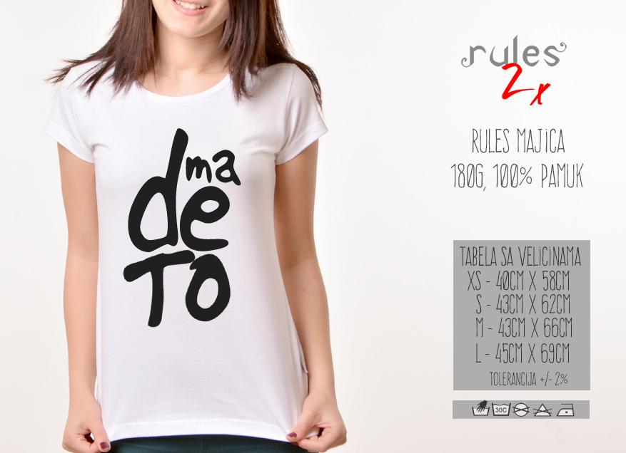 Zenska Rules majica sa natpisom Ma De To - Tabela Velicina
