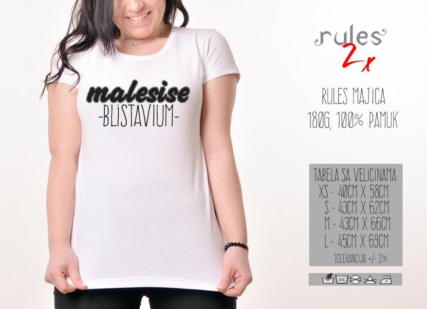 Zenska Rules majica sa natpisom Male Sise Blistavi Um - Tabela velicina