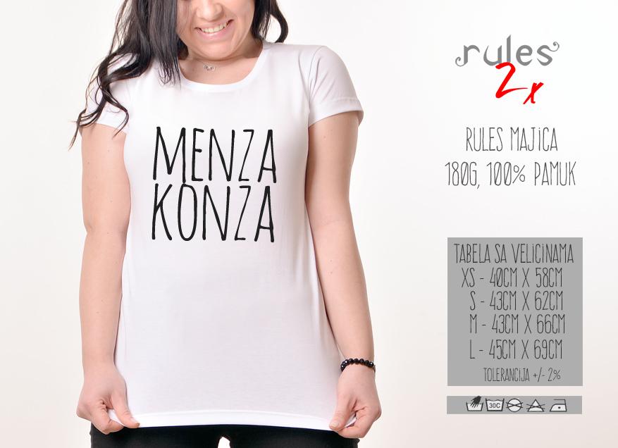 Zenska Rules majica sa natpisom Menza Konza - Tabela velicina