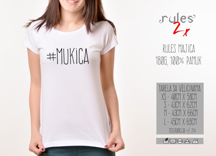 Zenska Rules majica sa natpisom Mukica - Tabela velicina
