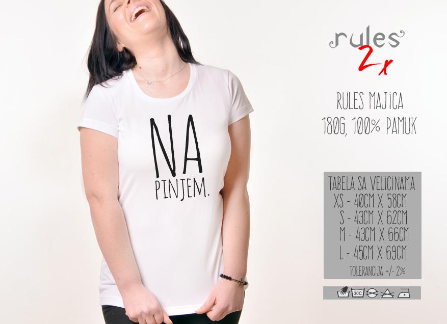Zenska Rules majica sa natpisom Napinjem - Tabela velicina