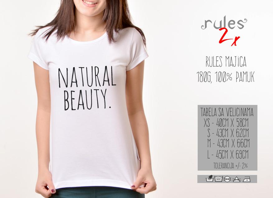Zenska Rules majica sa natpisom Natural Beauty - Tabela velicina