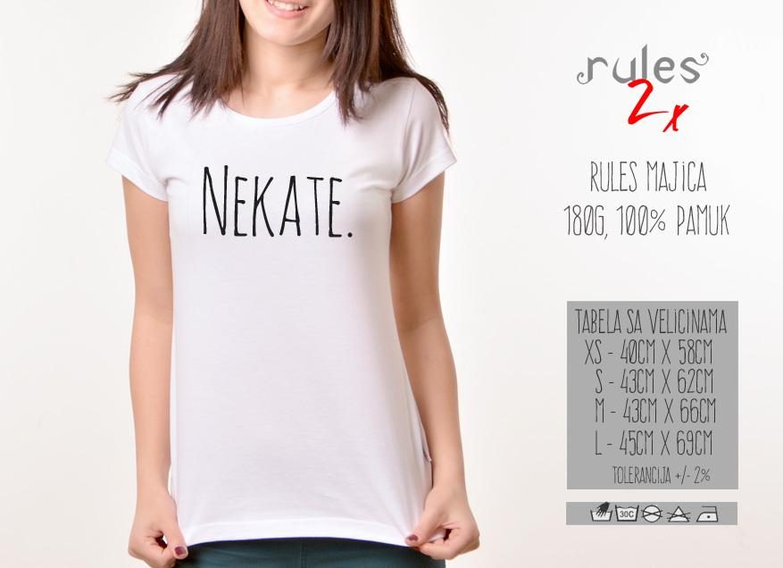 Zenska Rules majica sa natpisom Neka te - Tabela velicina