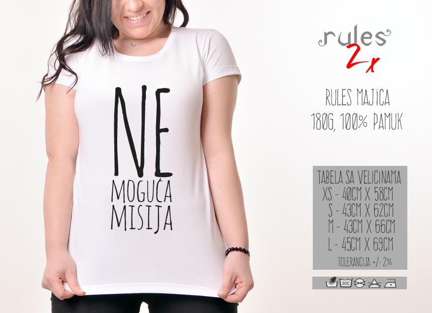Zenska Rules majica sa natpisom Nemoguca misija -Tabela velicina