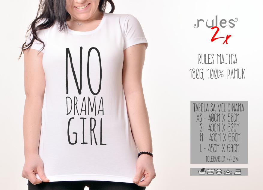 Zenska Rules majica sa natpisom No Drama Girl- Tabela velicina