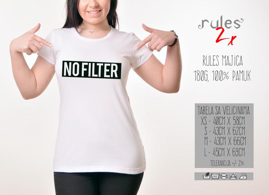Zenska Rules majica sa natpisom No Filter - Tabela velicina