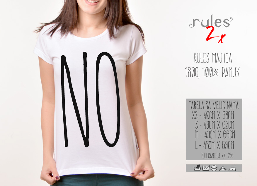 Zenska Rules majica sa natpisom No - Tabela velicina