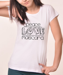 Zenska Rules majica sa natpisom Peace Love Mascara - Proizvod