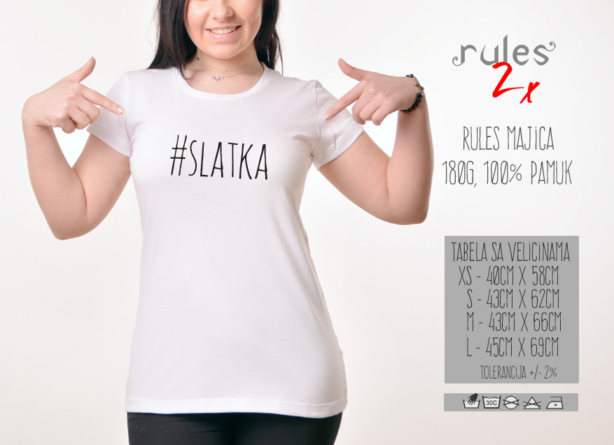 Zenska Rules majica sa natpisom Slatka - Tabela velicina