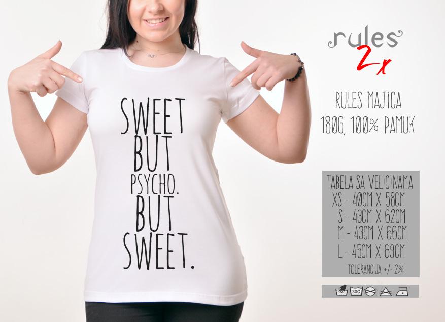 Zenska Rules majica sa natpisom Sweet but psycho but sweet -  Tabela velicina