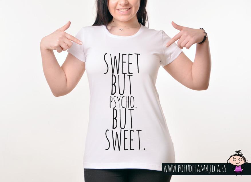Zenska Rules majica sa natpisom Sweet but psycho but sweet -  poludelamajica