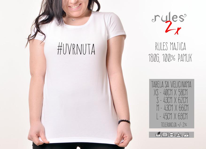Zenska Rules majica sa natpisom Uvrnuta - Tabela velicina