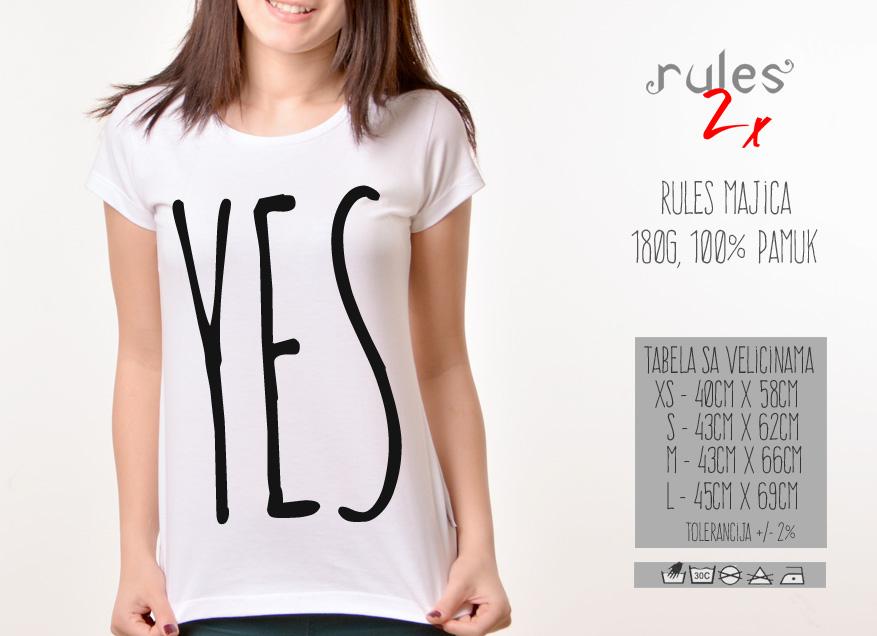 Zenska Rules majica sa natpisom Yes - Tabela velicina