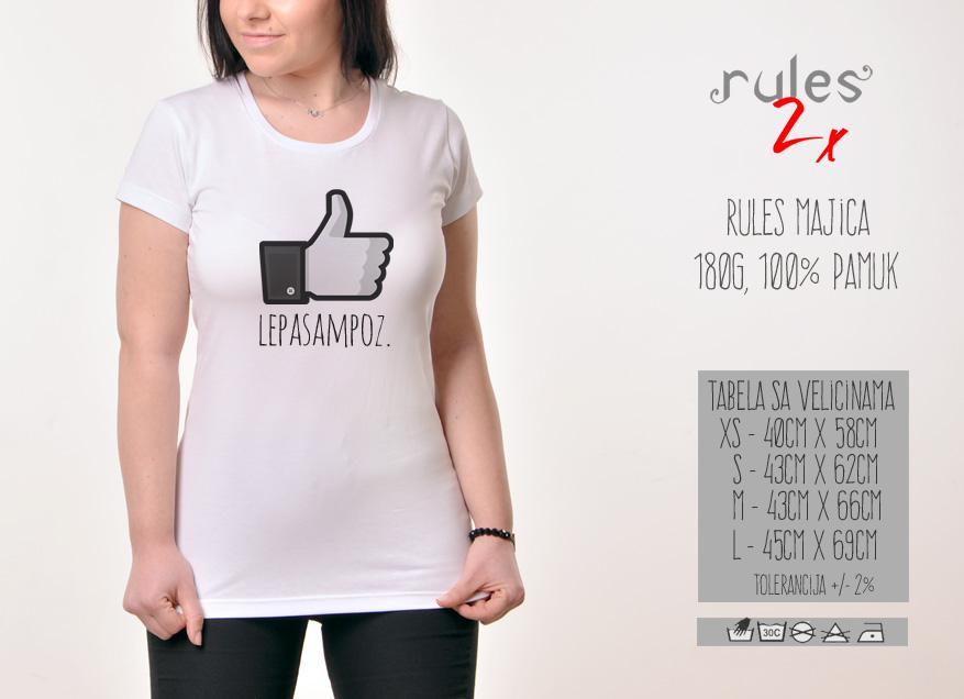 Zenska majica sa natpisom Lepa Sam Poz - Tabela Velicina