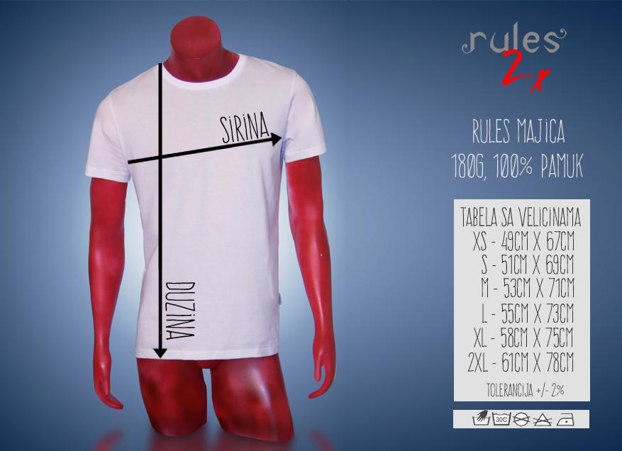 Muska Rules Majica Tabela velicina i dimenzija