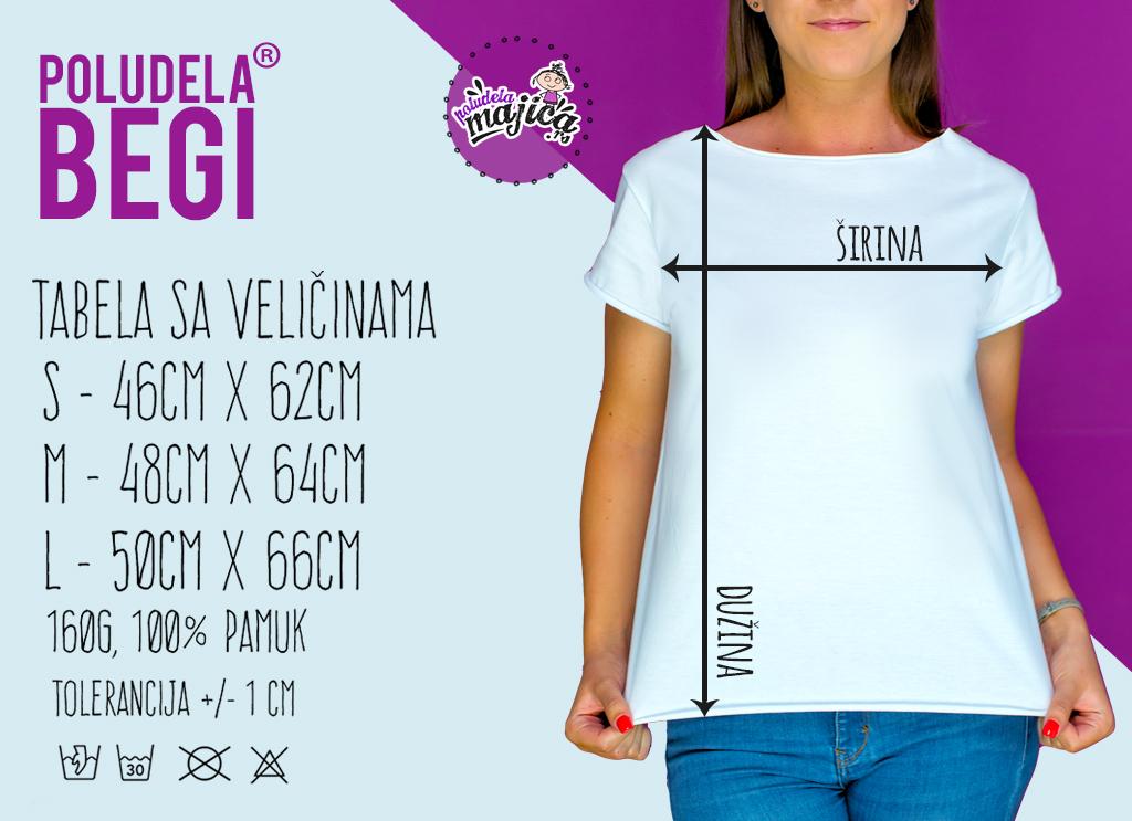 Poludela Majica BEGI - Tabela Velicina