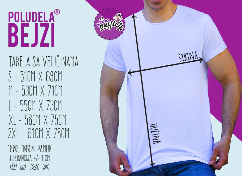 Poludela-Majica-BEJZI MUSKA-Tabela-Velicina