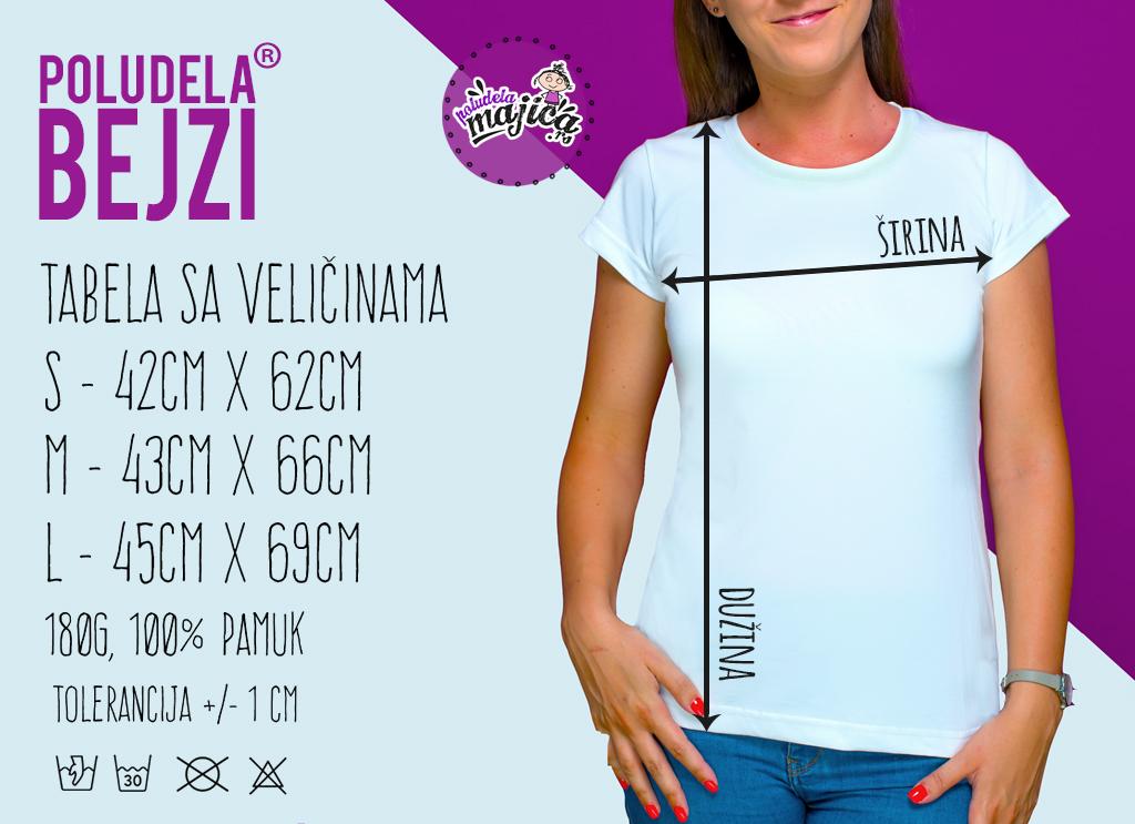 Poludela Majica BEJZI - Tabela Velicina