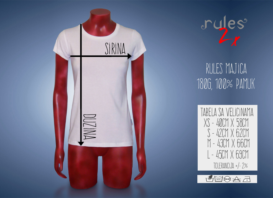 Zenska Rules Majica Tabela velicina i dimenzija