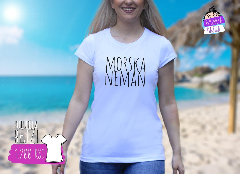 Poludela Majica Bejzi sa natpisom Morska Neman