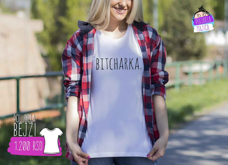 Poludela Majica Zenska Bejzi sa natpisom Bitcharka