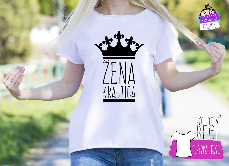 Poludela Majica zenska BEGI sa natpisom Zena Kraljica