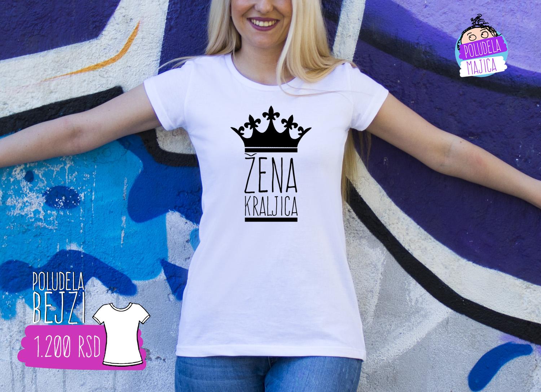 Poludela Majica zenska BEJZI sa natpisom Zena Kraljica
