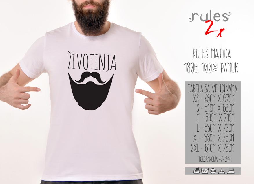 Majice sa smesnim natpisima - Zivotinja - Tabela velicina